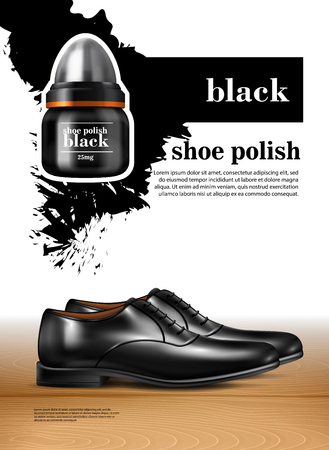 Men shoes realistic set witn shoe polish symbols isolated vector illustration Illustration