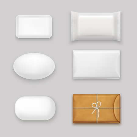 Soap bars realistic set with blank packaging isolated vector illustration Illustration