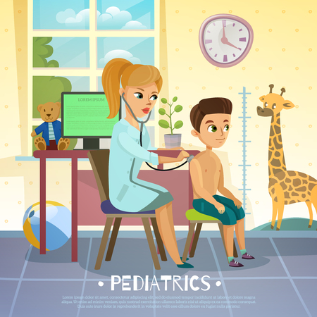 Pediatric department in hospital scene with woman doctor and boy during examination of breathing system vector illustration