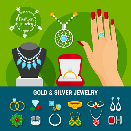 Collection of jewelry icons with fashion gold and silver rings, earrings, brooch, studs, bangles isolated vector illustration Illustration