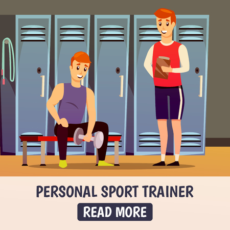 Personal workout background with trainer and man during lifting of weights in sport room vector illustration