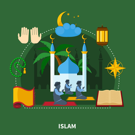 Flat religions colored composition with islam and important elements of this religion vector illustration Illustration