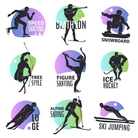 Winter sports emblems set with silhouettes of people involved in ski jumping free style biathlon ice hockey luge flat vector illustration