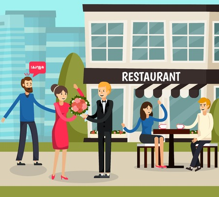 Love triangle orthogonal composition with reactions of people on man giving flowers to woman flat vector illustration