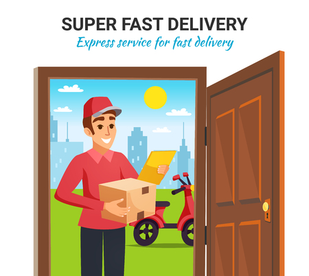 Fast express delivery service with smiling motorcycle courier holding parcel box at customer door colorful vector illustration