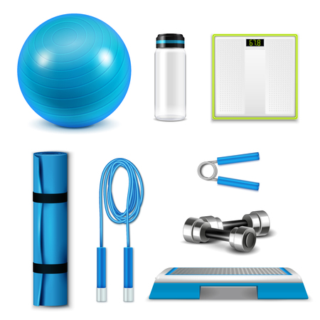 Fetness realistic set with ball water bottle and mat isolated vector illustration