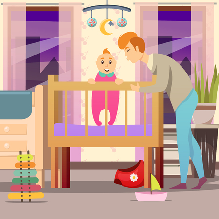 Father near son standing in cot in kid room during parental leave orthogonal background vector illustration