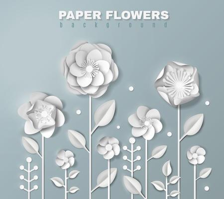 灰色の背景3Dベクトルイラストに葉を持つ茎に様々な形状のリアルな白い紙の花