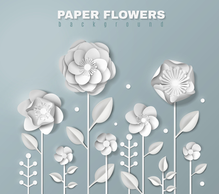 Realistic white paper flowers of various shape on stems with foliage on grey background 3d vector illustration