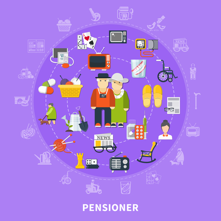 Flat pensioner colored concept with icon set combined in big circle and elderly couple in the center vector illustration Illustration