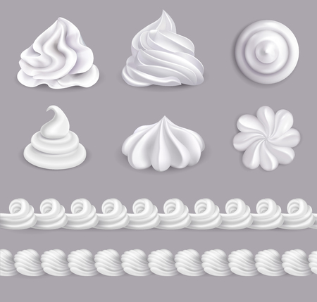 Whipped cream realistic set in different shapes isolated vector illustration Vettoriali