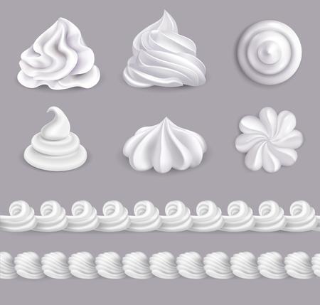 Realistyczny zestaw bitej śmietany w różnych kształtach na białym tle ilustracji wektorowych