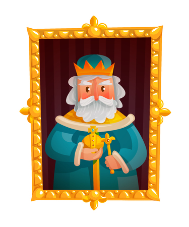 Cartoon portrait of king in crown with orb and scepter in golden frame isolated vector illustration