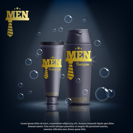 Male cosmetics including shaving gel, shampoo in yellow black packaging realistic composition with brand identity vector illustration