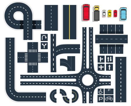 Draufsicht der schwarzen weißen Verkehrsstraßen-Schnittelemente mit Schildern und bunten Fahrzeugikonen stellte Vektorillustration ein Vektorgrafik