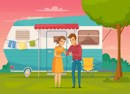 Needy people flat composition with money and trailer symbols vector illustration Illustration