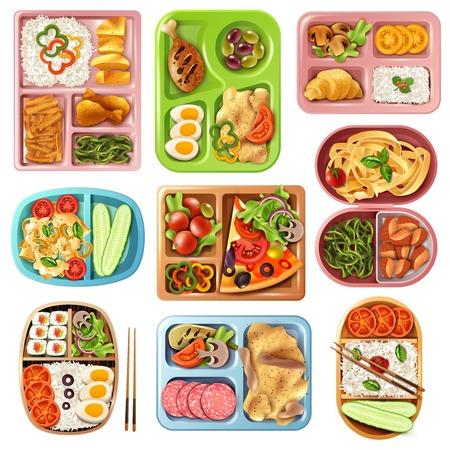 L'insieme dei pranzi imballati in contenitori variopinti di plastica con l'alimento italiano, asiatico, vegetariano ha isolato l'illustrazione di vettore