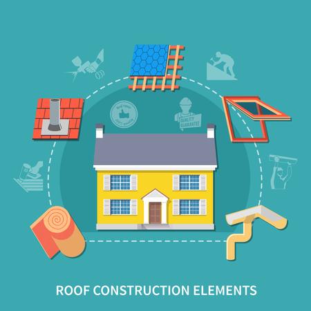 Roofer vlakke samenstelling met de kop van dakbouwelementen en verschillend type van de vectorillustratie van bouwelementen Stock Illustratie