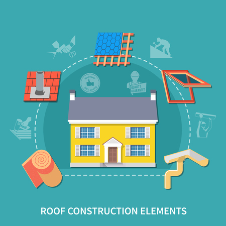 Roofer flat composition with roof construction elements headline and different type of construction elements vector illustration Illustration