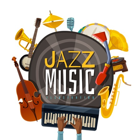Jazz music composition from musical instruments including phonograph, saxophone, cello, piano, banjo, trumpet and tambourine vector illustration