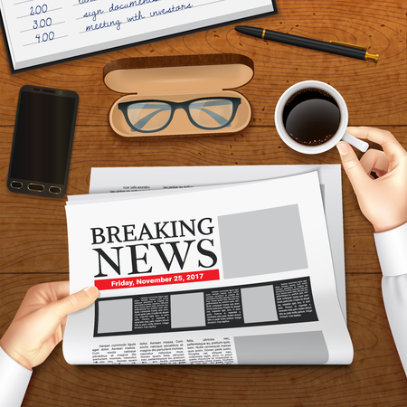 Realistic business newspaper with breaking news in male hands design top view on wooden background vector illustration Illustration