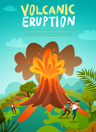 Natural disaster volcano eruption  background with men in panic escaping from flowing lava vector illustration