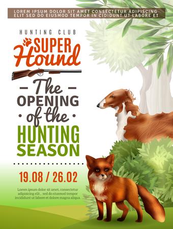 Opening van het seizoen in de jacht club informatie poster met vos en windhond, struiken en bomen vector illustratie