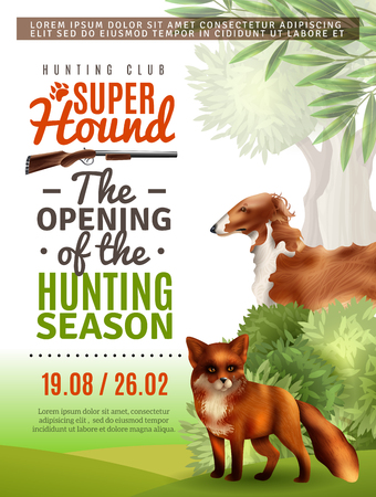 Opening of season in hunting club information poster with fox and greyhound, bushes and trees vector illustration