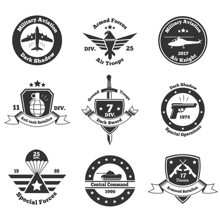 Set of nine isolated monochrome military emblems with images of war transport weapons text and symbols vector illustration