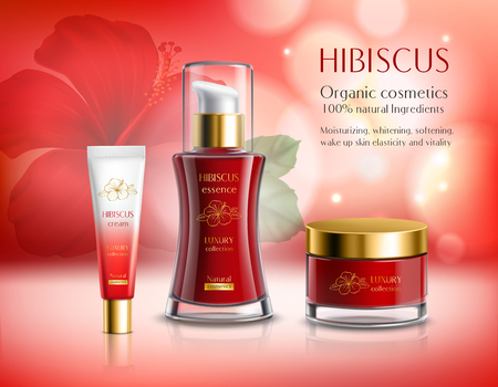 Cosmetics series hibiscus with essence and creams composition on red blurred sparkling background with flower vector illustration Vectores