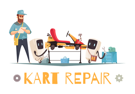 Mechanic and two robots repairing kart racing car cartoon vector illustration Illustration