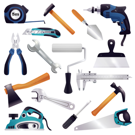 Building construction renovation remodeling realistic carpentry woodwork tools set with axe claw hammer saw screwdriver vector illustration