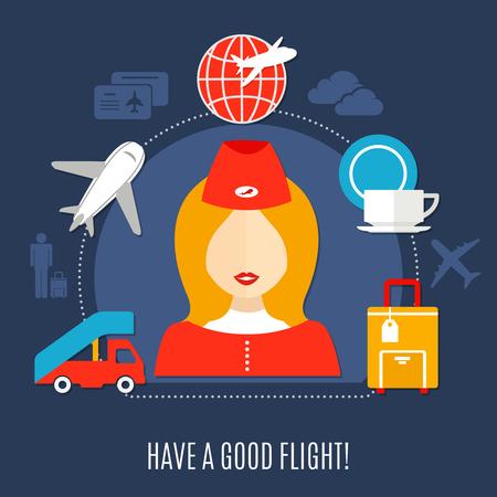 ようこそスチュワーデス、航空会社の乗客飛行サービス シンボル ベクトル図とフラット広告ポスターに乗って空の旅