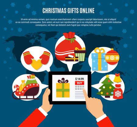 Christmas gifts buying online composition with mobile device in hands, presents, decorations on blue background vector illustration Illustration