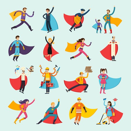 Superheroes orthogonal flat people set including businessman, housewife, chef, doctor and fireman in cloak isolated vector illustration 일러스트