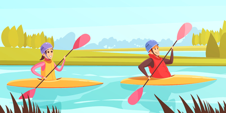 Two people doing water sports in rowing boats on river cartoon vector illustration Illustration
