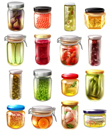 Set of canned food in glass jars with fruit jams, pickled vegetables, fish, caviar isolated vector illustration Vettoriali