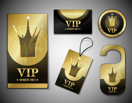 Vip member elements set with cards, label, token, design template in black golden colors isolated vector illustration Ilustração