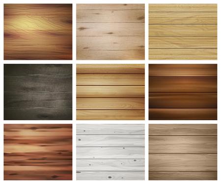 현실적인 나무 질감 벽지 및 타일 벡터 일러스트 레이 션에 대 한 추상적 인 패턴을 사용 하여 9 개의 격리 된 사각형 이미지 집합