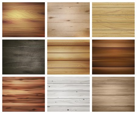 Realistic wooden texture set of nine isolated rectangular images with abstract patterns for wallpapers and tiles vector illustration Ilustração