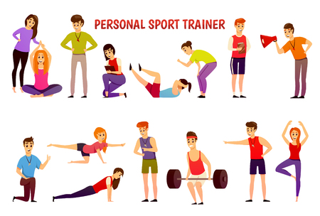 Orthogonal icons set with personal sport trainer and people in sportswear during physical exercises isolated vector illustration
