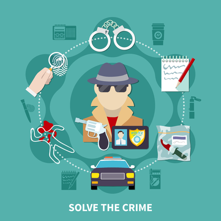 Detective colored composition with solve the crime description and icon set around pic vector illustration Illustration