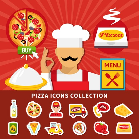 Pizza icon set with isolated emoji style images of pizzeria menu items with ingredients and cook vector illustration