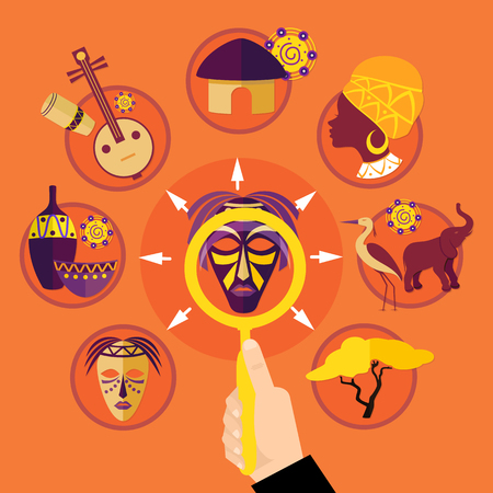Travel to africa colorful bright background with various african objects and symbols flat vector illustration