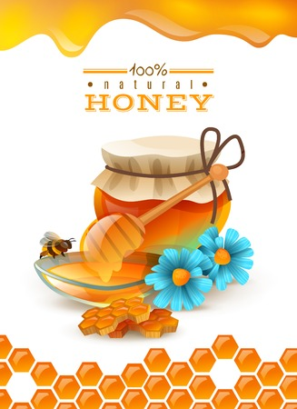 Natural honey ad poster with bee, honeycombs, flowers, saucer and jar with product, hexagon ornament vector illustration