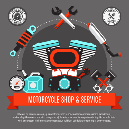 Motorcycle shop and service design concept with engine pistons speedometer exhaust wrench decorative icons flat vector illustration
