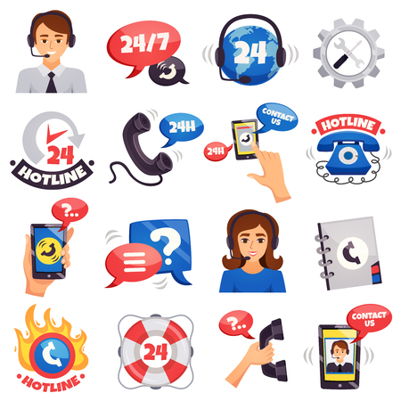 Call contact and customer support centers hotline 24 hours services colorful symbols icons collection isolated vector illustration