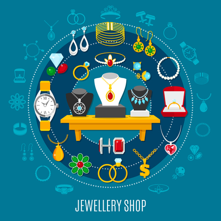 Jewelry shop round composition with female and male decorations including hand watch on blue background vector illustration