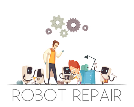 Robot-human teamwork repair cartoon composition with men cooperate with mobile autonomic robotic assistance vector illustration Illustration