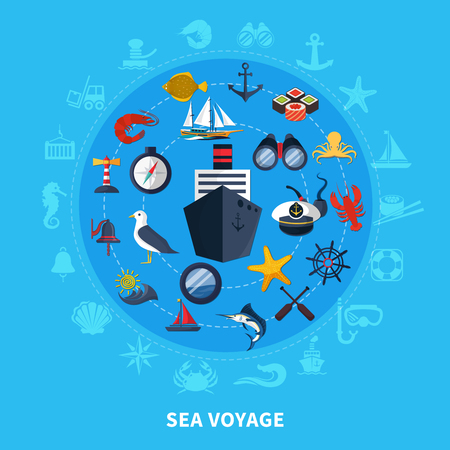 Nautical concept with ship seagull and compass on blue background flat vector illustration Çizim